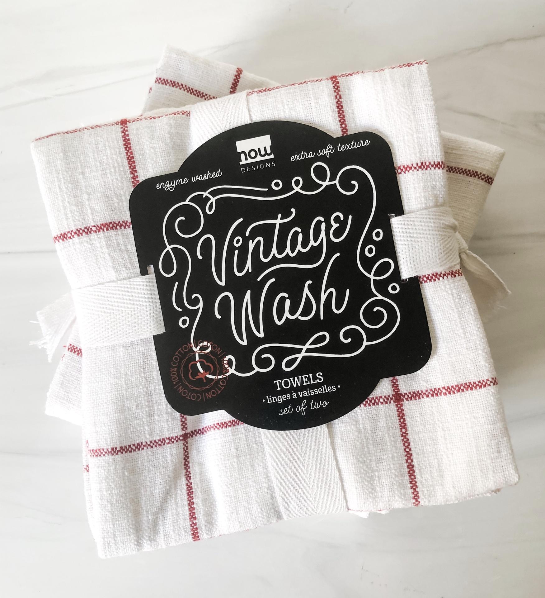 Vintage Wash Dishtowels, set/2--CHOOSE COLOR
