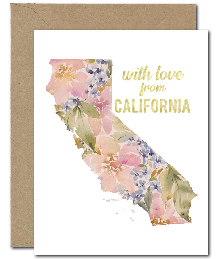 """""""With Love from CALIFORNIA,"""" Floral Blank Greeting Card"""