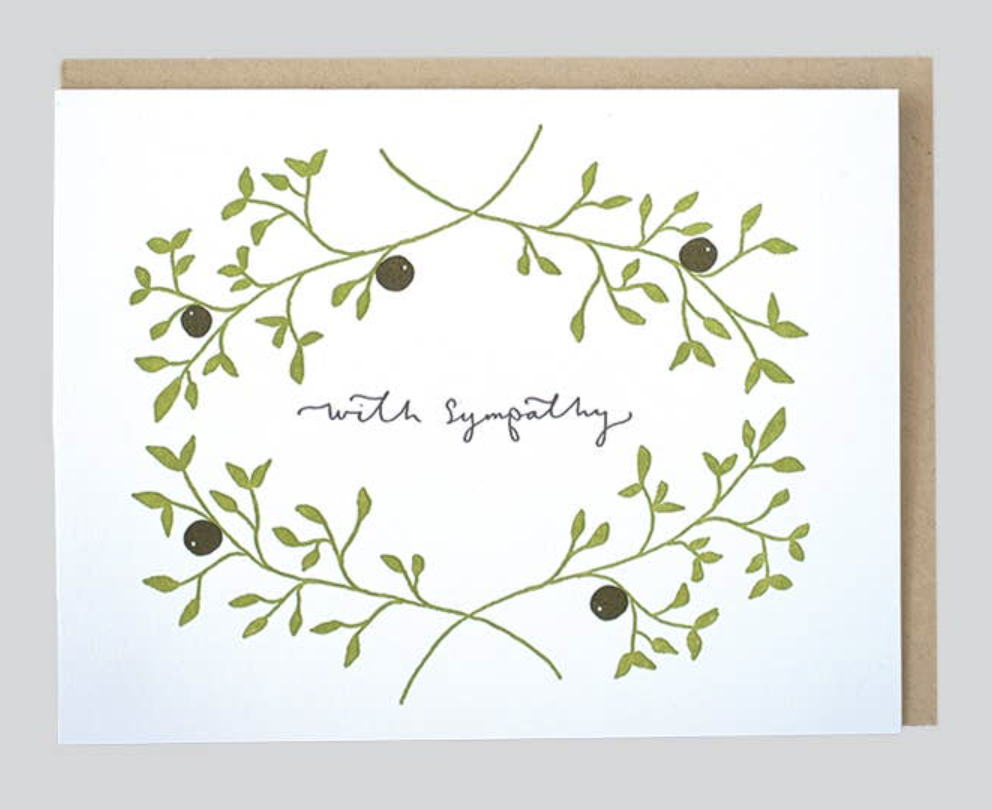 """""""With Sympathy"""" Olive Branch, Blank Greeting Card"""