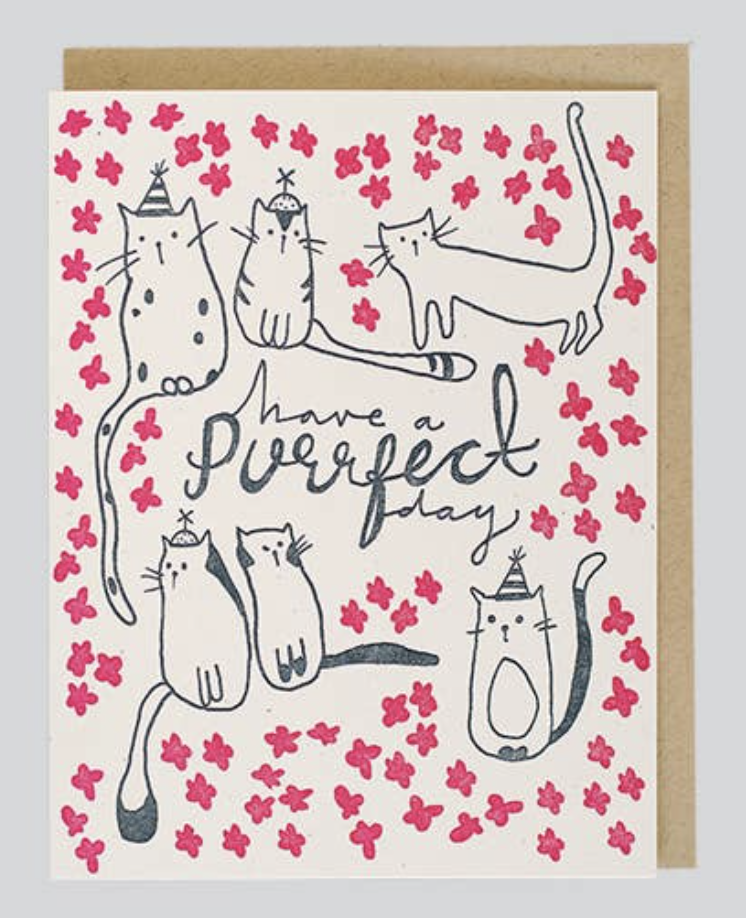 """""""Have a Purrrfect Day,"""" Blank Greeting Card"""