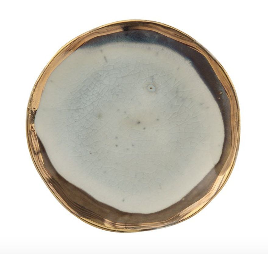 Small Ceramic Plate with Gold Electroplating