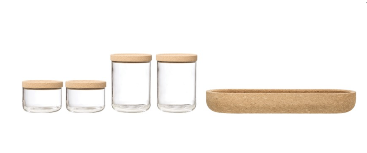 Cork Tray with Glass Jars and Cork Lids, set/4