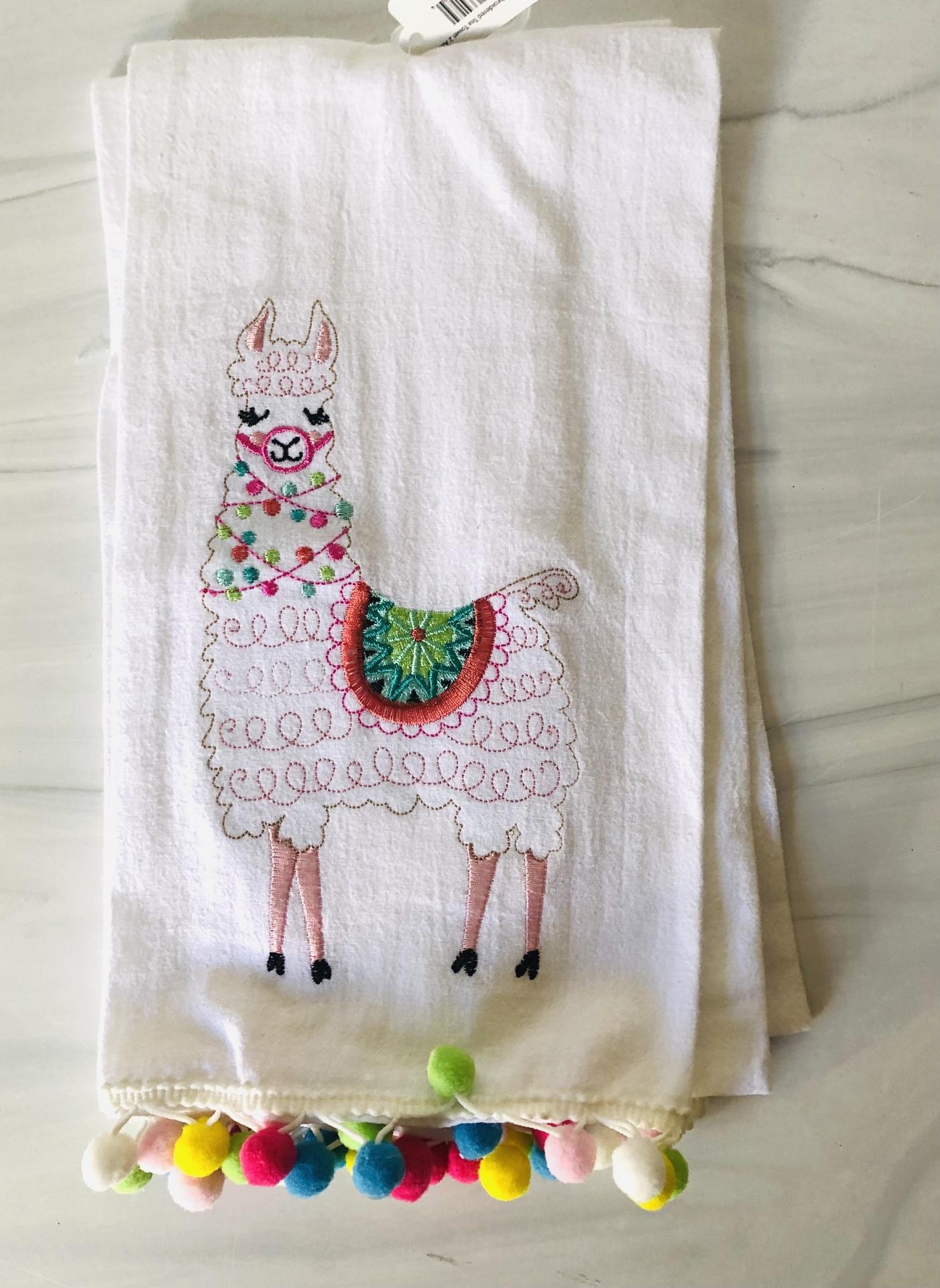 Llama Embroidered Tea Towel