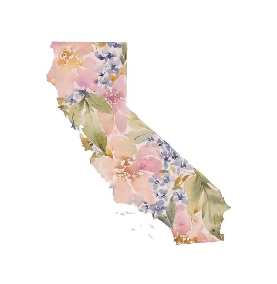 "Floral California Love, UNFRAMED ART PRINT, 11""x14"""