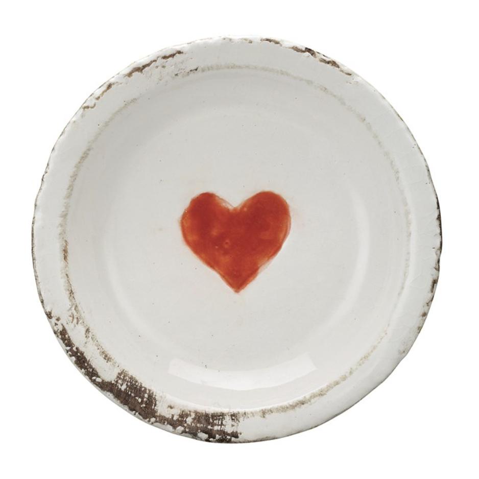 Decorative Glazed Terracotta Dish with Heart