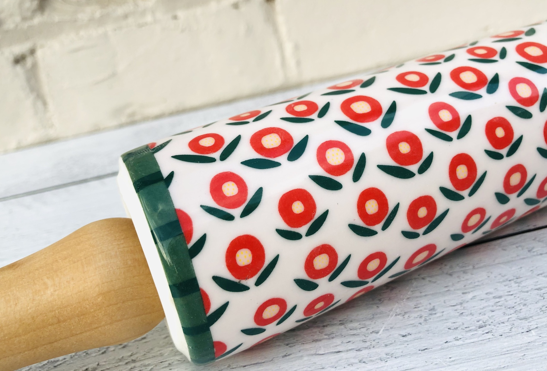 Stoneware Rolling Pin with Flowers