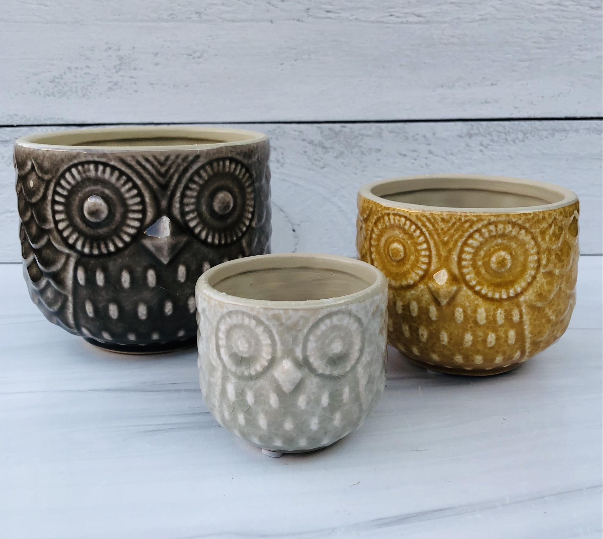 Stoneware Owl Planter--CHOOSE SIZE