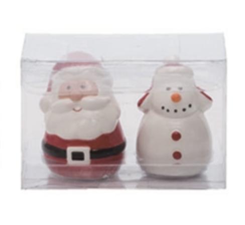 Santa & Snowman Salt & Pepper Shakers, Set/2