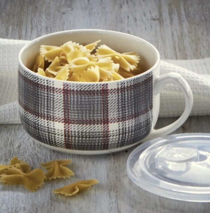 Winter Plaid Soup Mug with Lid