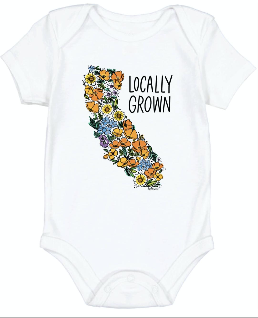 """Locally Grown"" California Wildflower Onesie--CHOOSE SIZE"
