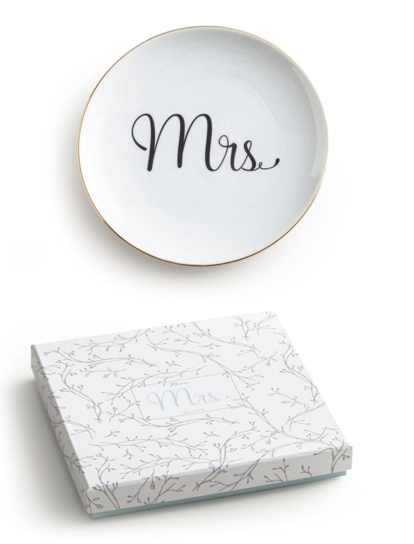 """Mrs"" Porcelain & Gold Plate, 6"""