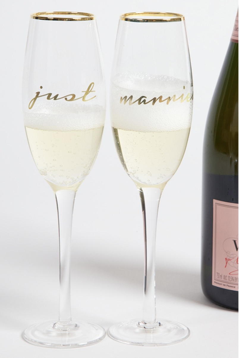 """""""Just Married"""" Champagne Flute Set"""
