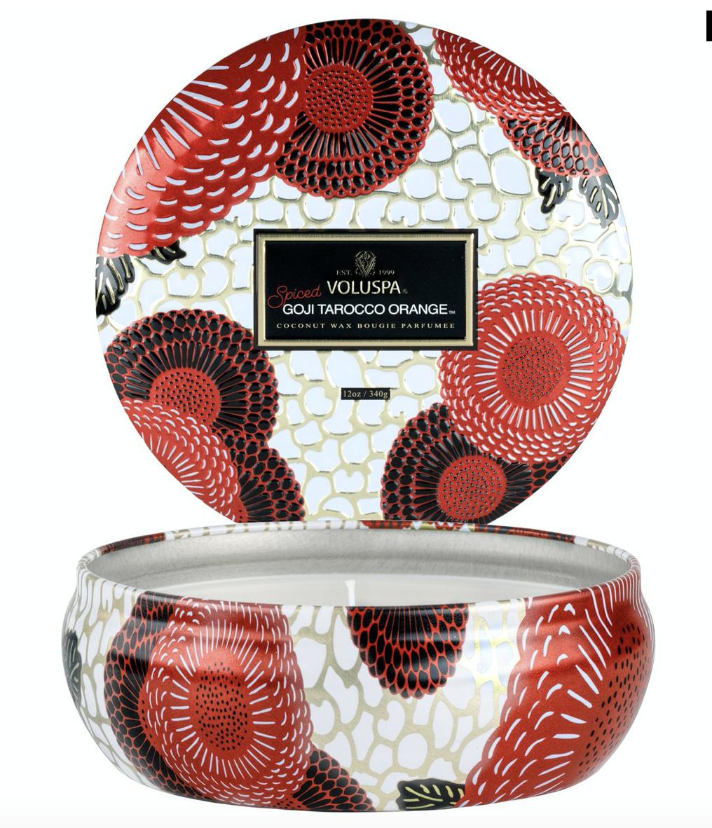 Voluspa Spiced Goji 3-Wick Candle in Tin