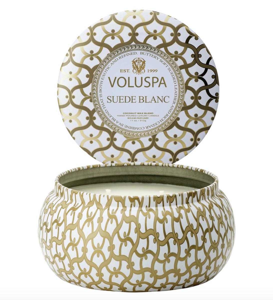 Voluspa Suede Blanc, 2-Wick Maison Metallo Candle