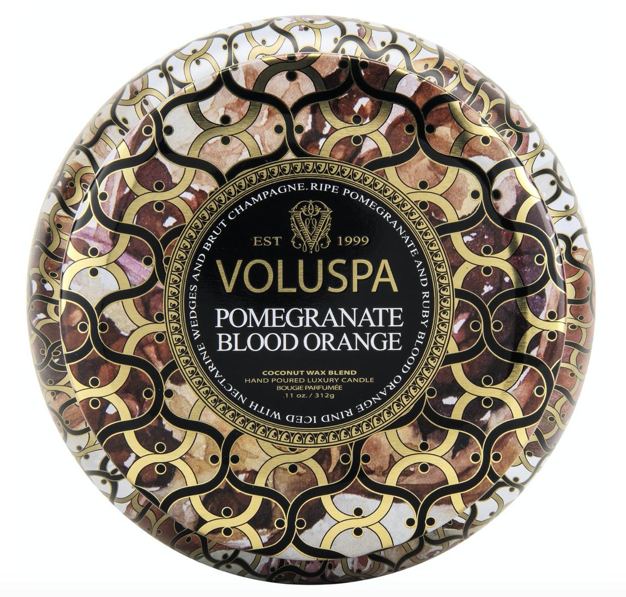 Voluspa Pomegranate Blood Orange, 2-Wick Maison Metallo Candle