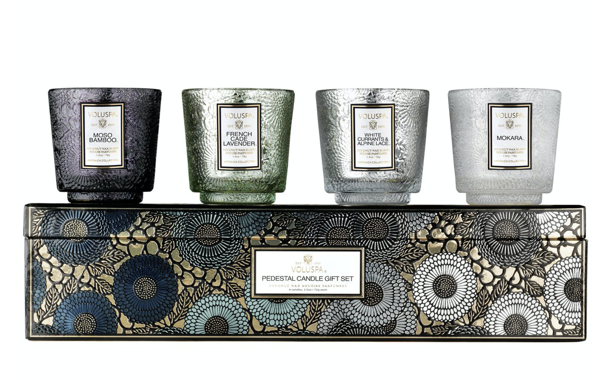 Voluspa Pedestal Candle Gift Set: Cool Tones
