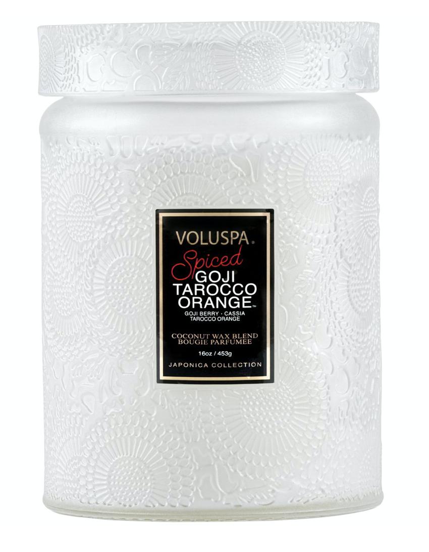 Voluspa Spiced Goji Tarocco Orange, Large Jar with Glass Lid