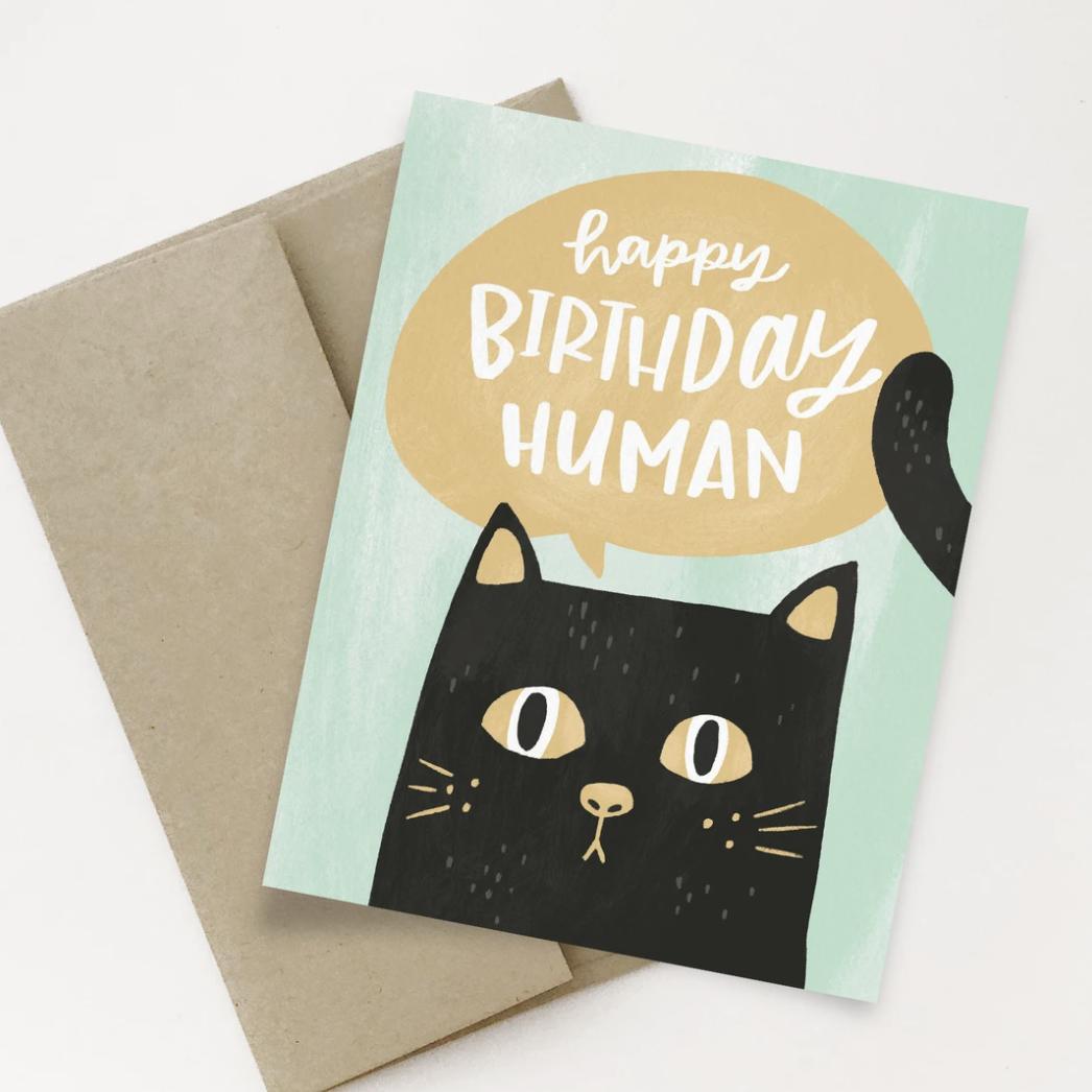 """Happy Birthday Human,"" Blank Greeting Card"