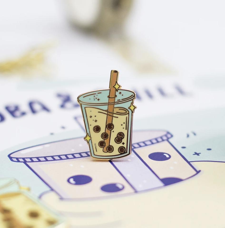 Boba Milk Tea Enamel Pin