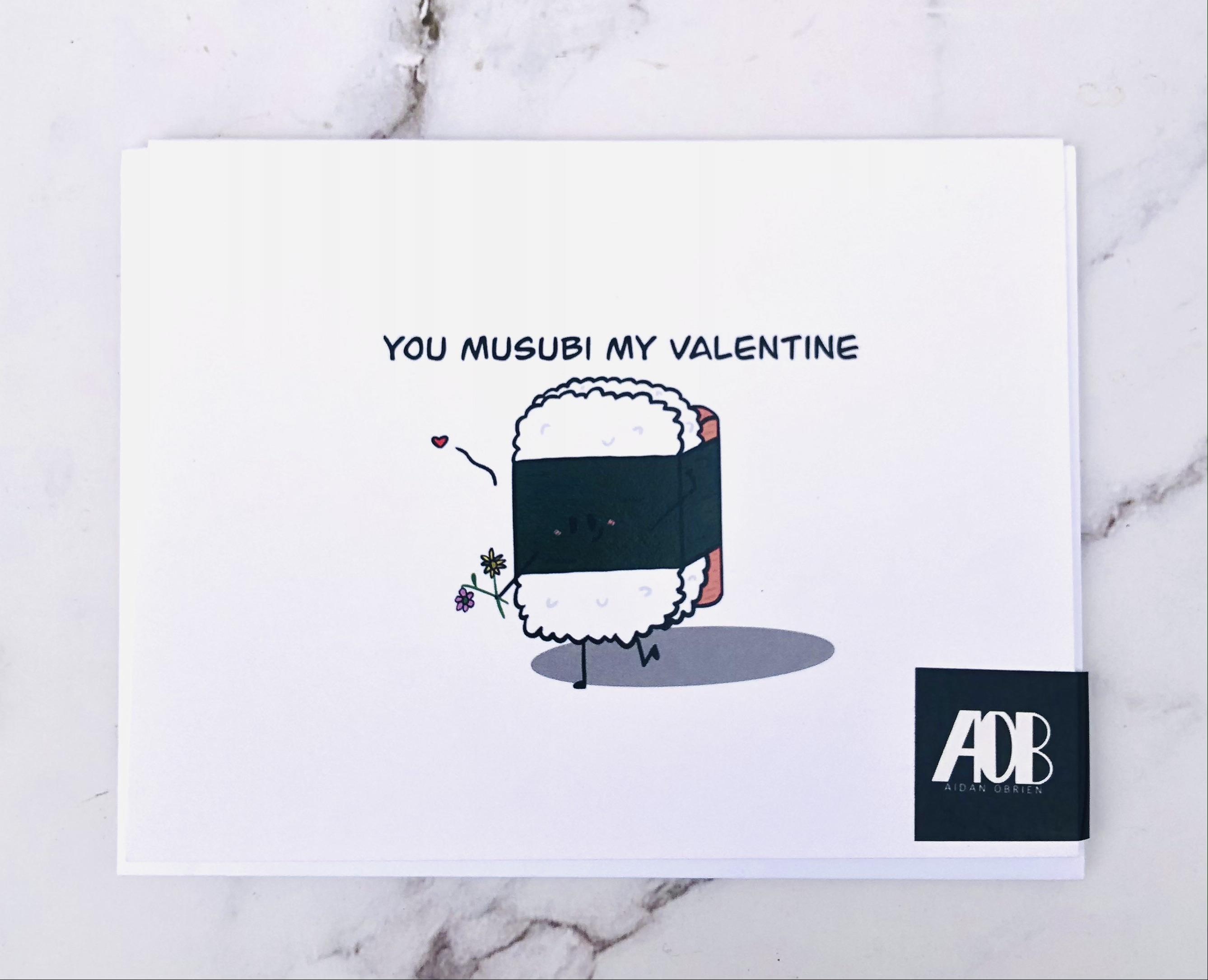 """Musubi My Valentine,"" Blank Greeting Card"