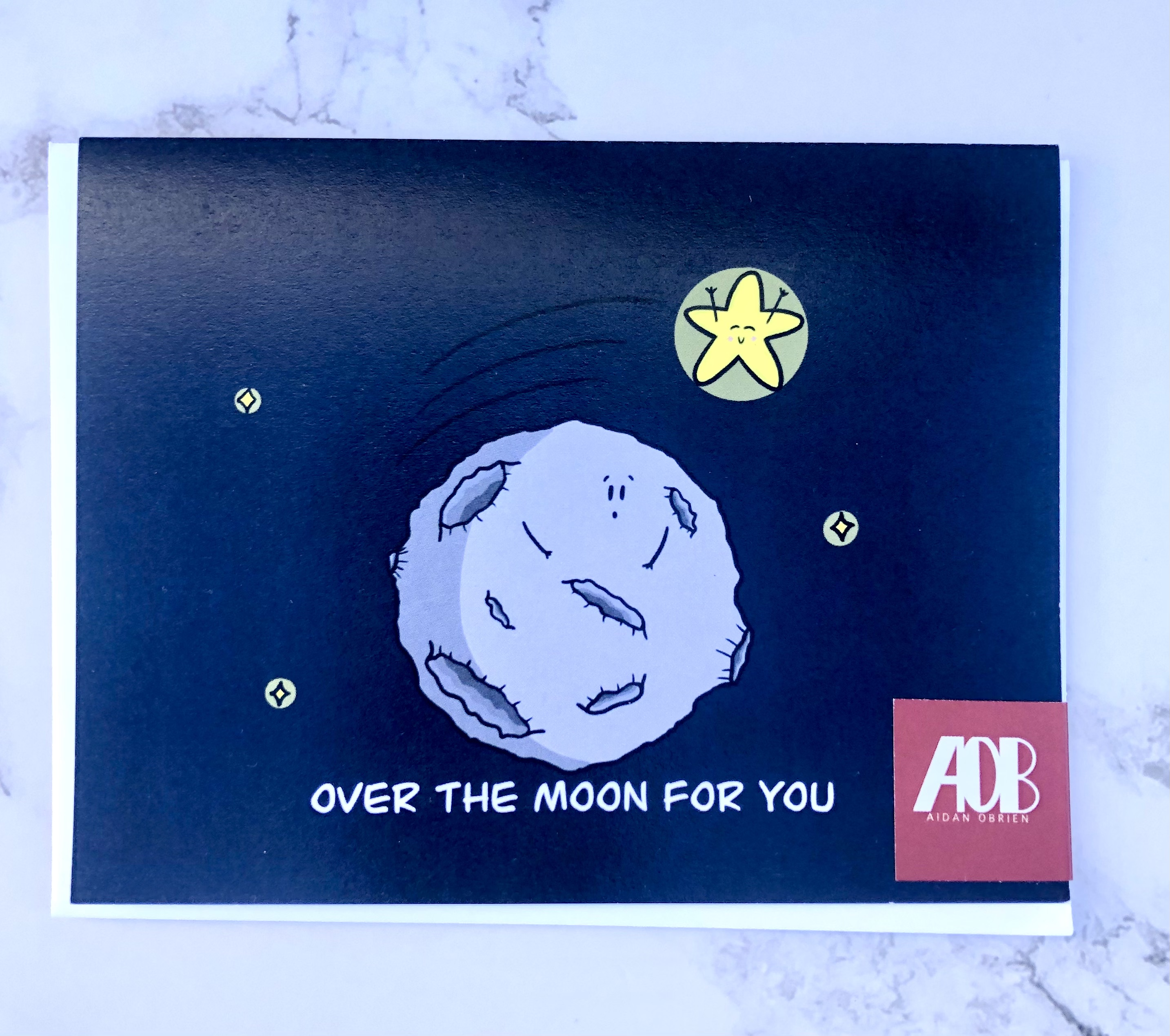 """""""Over the Moon,"""" Blank Greeting Card"""
