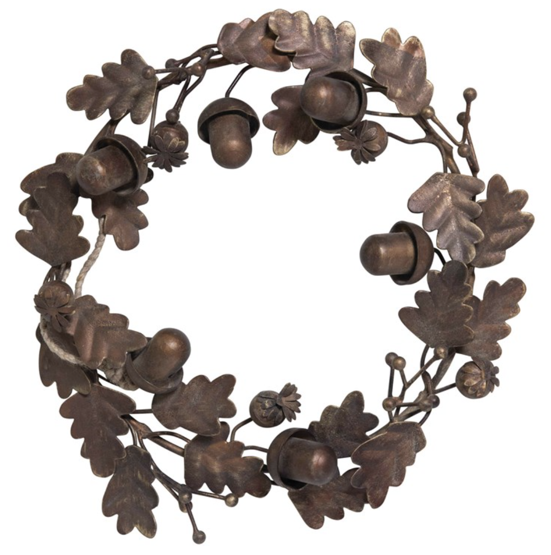 Metal Wreath: Leaves & Acorns, Bronze Finish