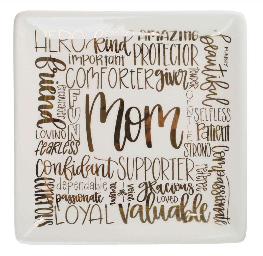 Shape Metallic Lettering Trinket Dish--CHOOSE DESIGN
