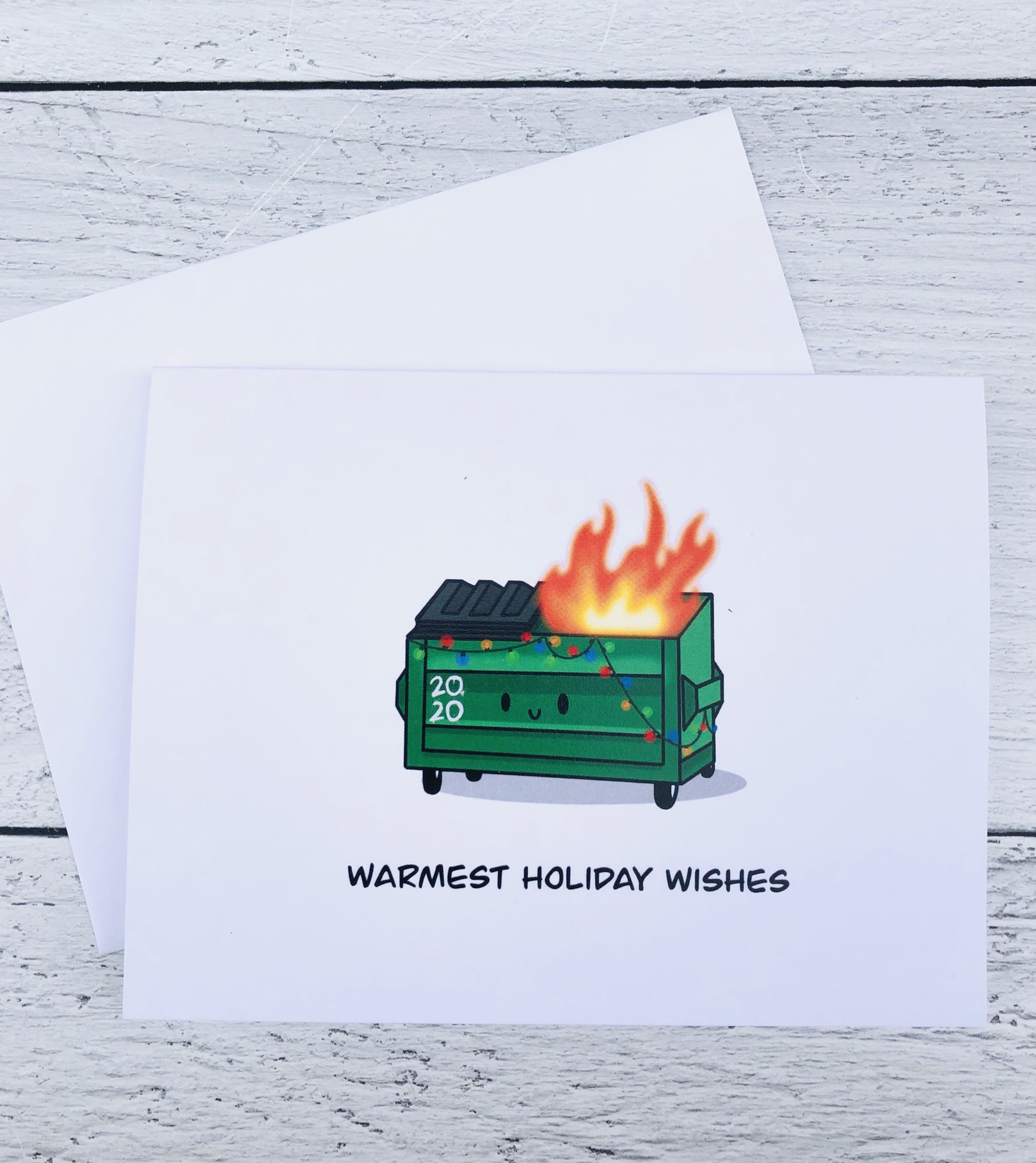 """""""Warmest Holiday Wishes,"""" Dumpster Blank Greeting Card"""