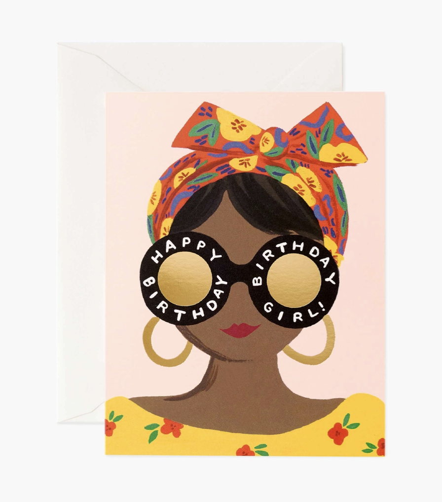 Scarf Birthday Girl, Rifle Paper Co. Blank Greeting Card