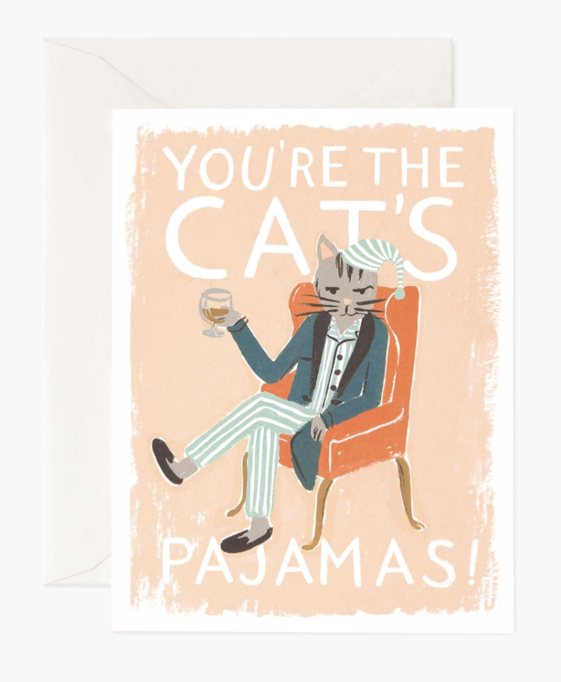 """You're the Cat's Pajamas,"" Rifle Paper Co. Blank Greeting Card"