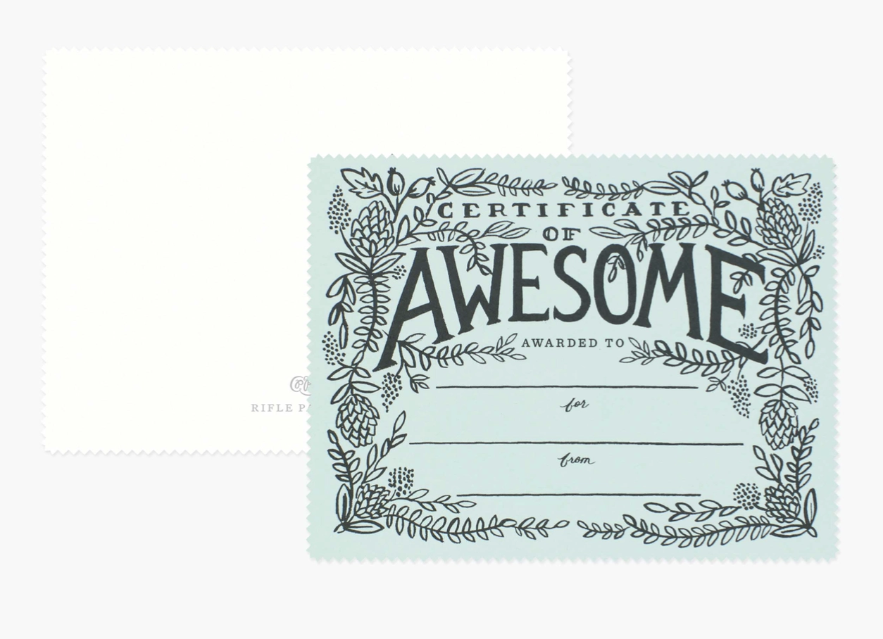 Certificate of Awesome, Rifle Paper Co. Blank Die-Cut Card