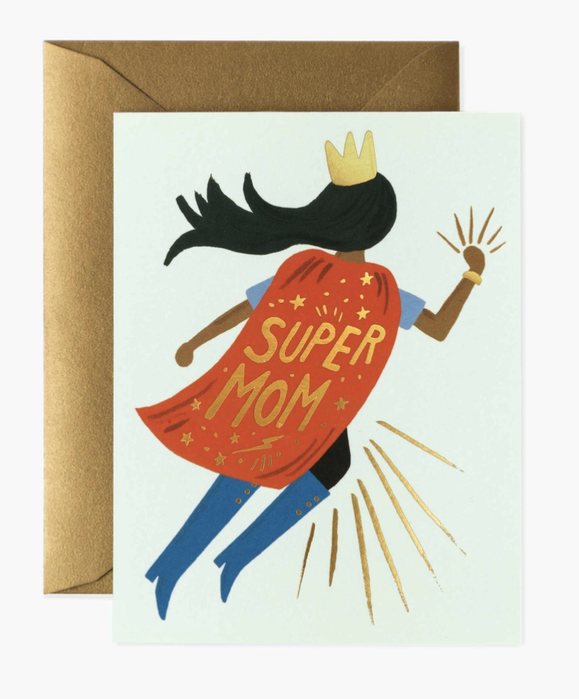 Super Mom (Black Hair; Blue Boots), Rifle Paper Co. Blank Greeting Card