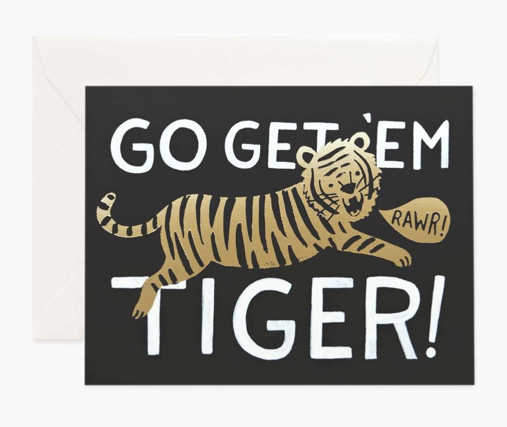 """Go Get 'em Tiger,"" Rifle Paper Co. Blank Greeting Card"