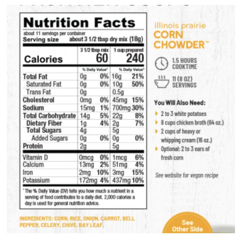 Illinois Prairie Corn Chowder Soup Mix