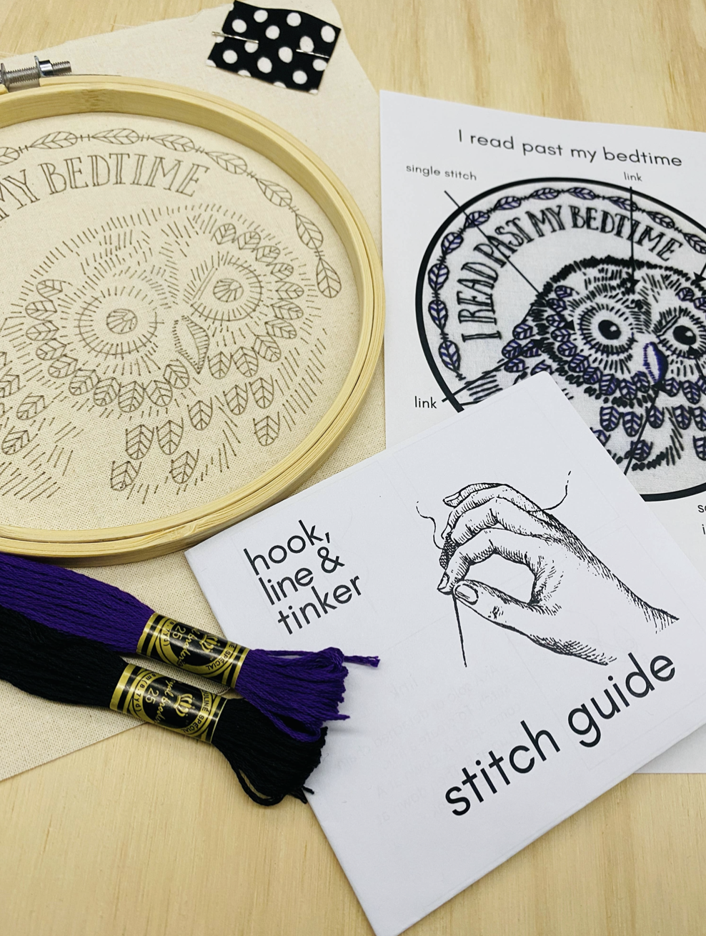 """""""I Read Past My Bedtime"""" Owl Embroidery Kit"""