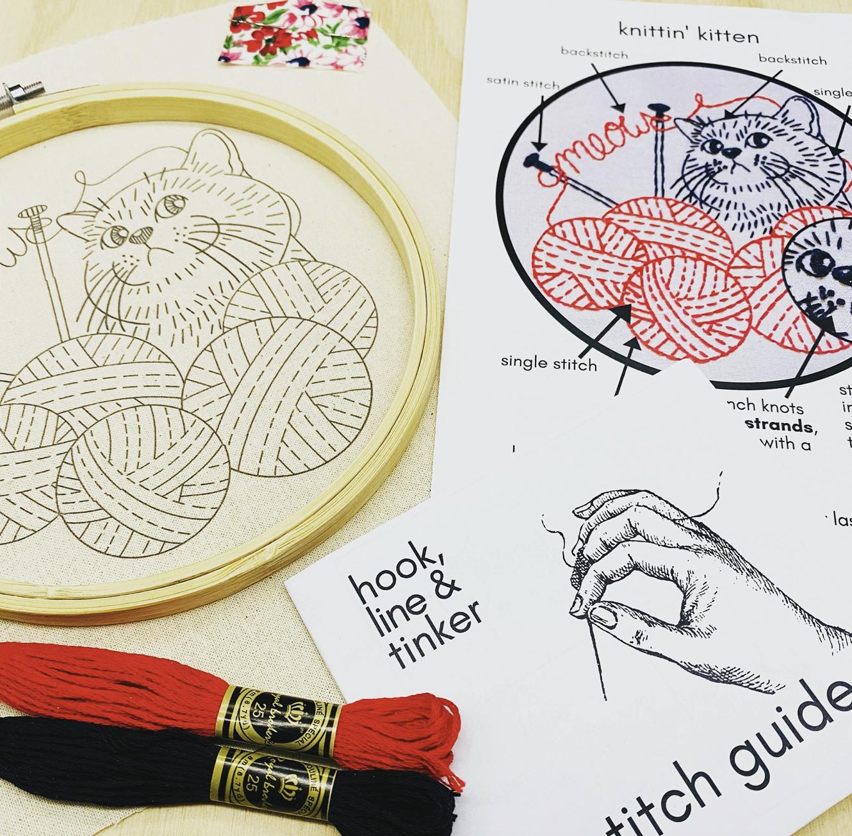Knittin' Kitten Embroidery Kit