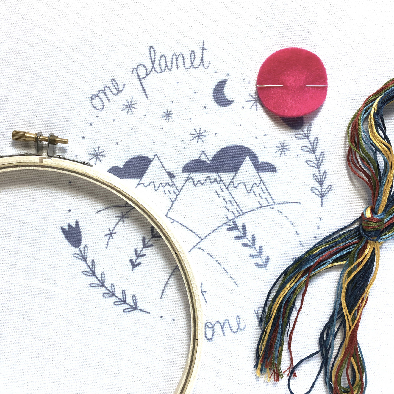 """""""One Planet One People,"""" Embroidery Kit"""