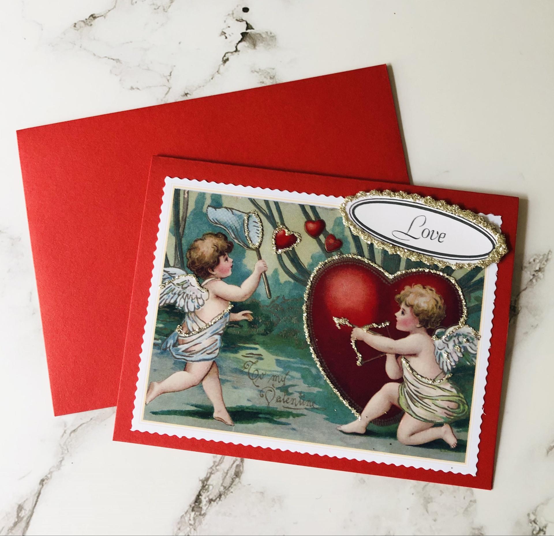"""""""Love"""" Glittered Blank Greeting Card"""