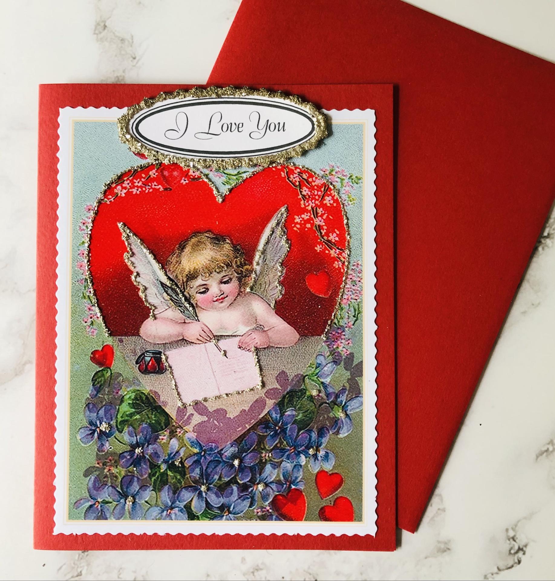 """""""I Love You,"""" Glittered Blank Greeting Card"""