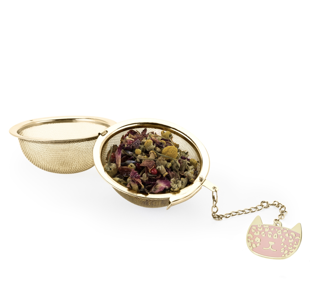 Tea Infuser Ball in Gold with Leopard Charm