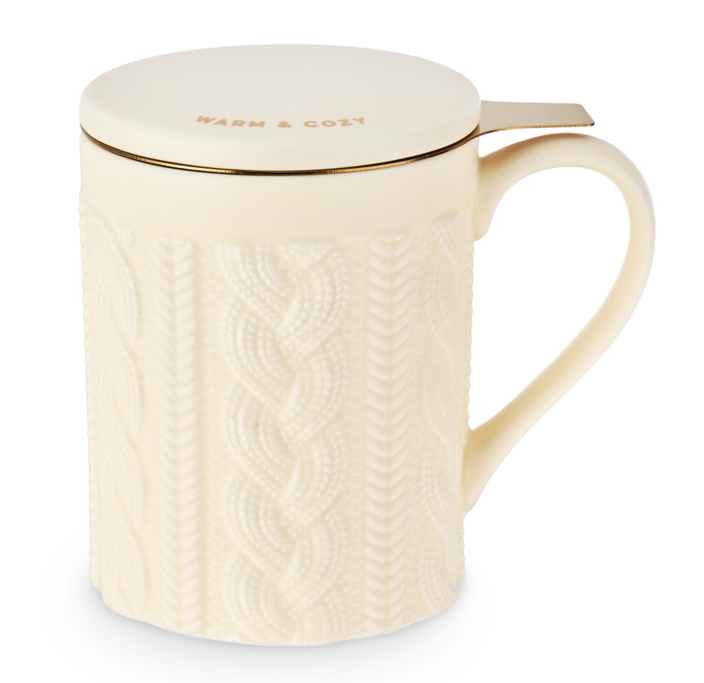 Knit Ceramic Mug with Tea Infuser and Lid