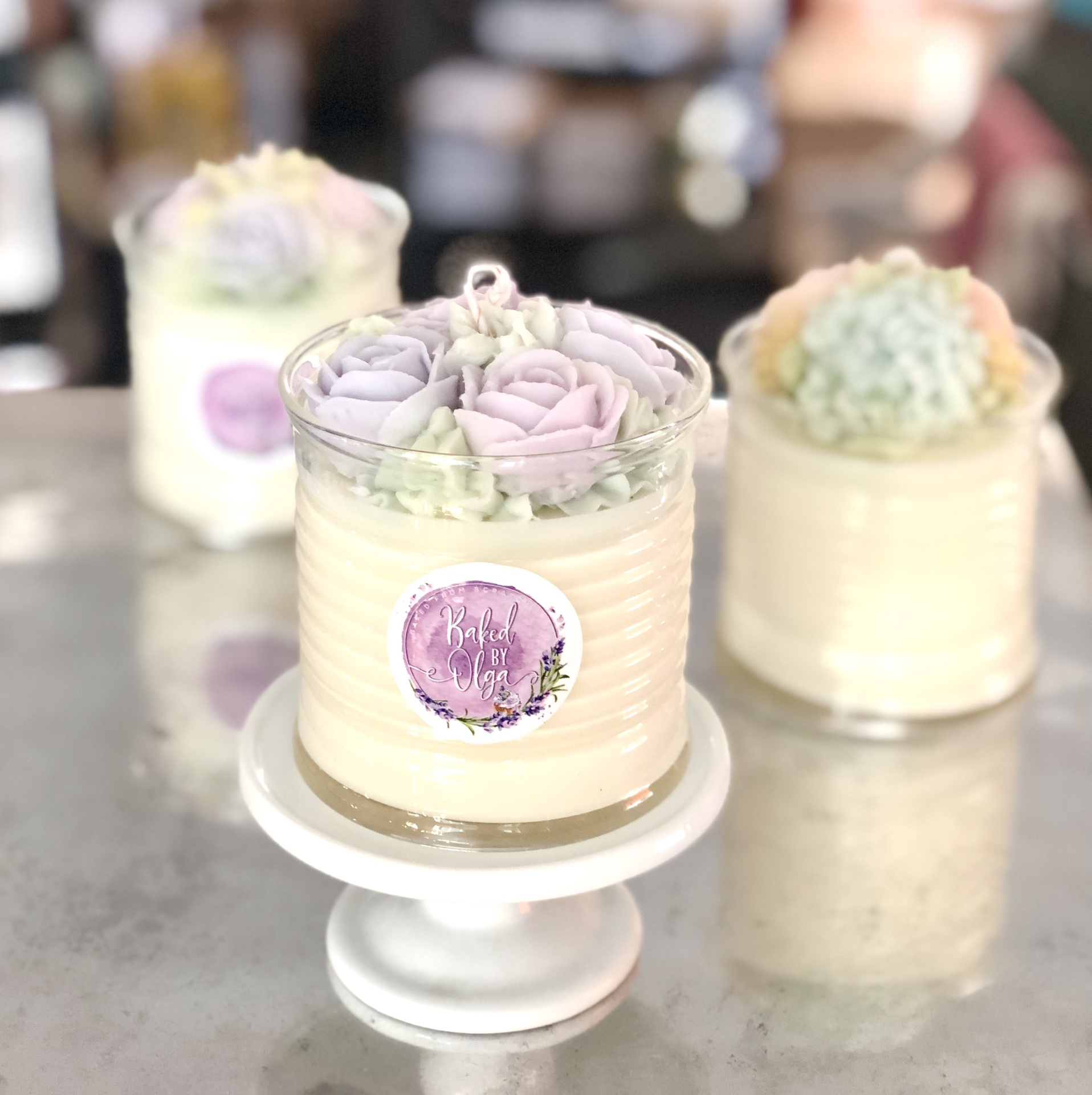 Baked by Olga Floral Candle, Boite--CHOOSE SCENT/COLOR