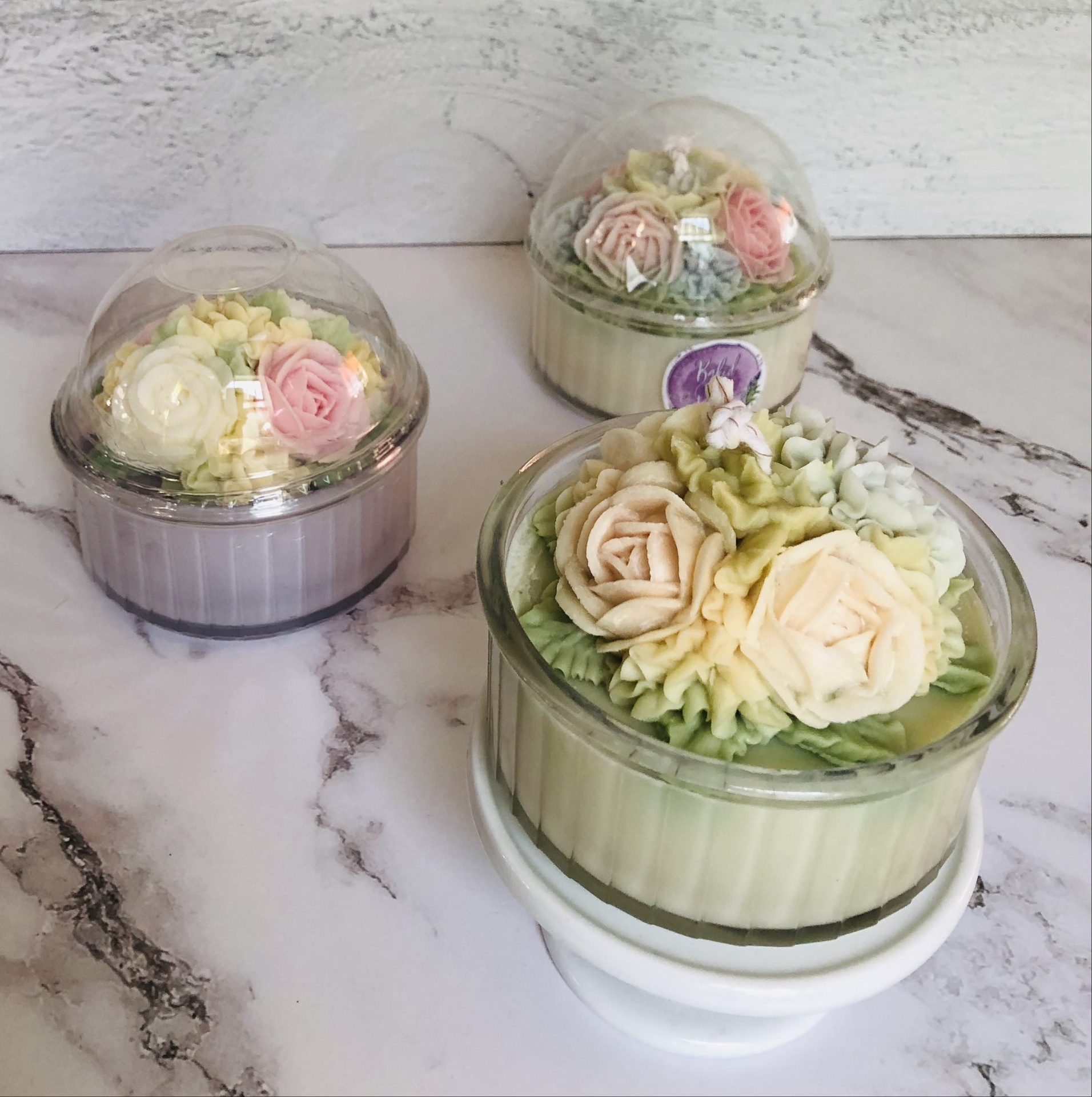 Baked by Olga Floral Candle, Classique--CHOOSE SCENT/COLOR