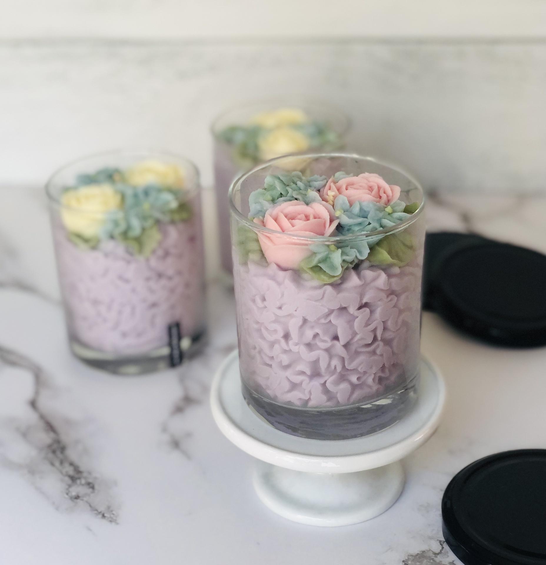 Baked by Olga Floral Candle, Med Frisée--CHOOSE SCENT/COLOR