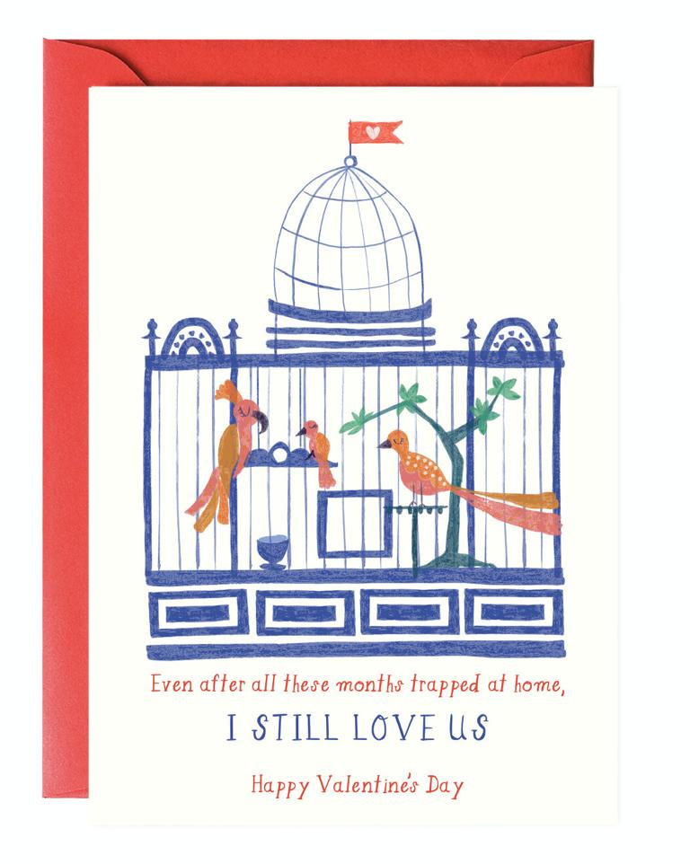 Caged Love Birds Valentine, Blank Greeting Card