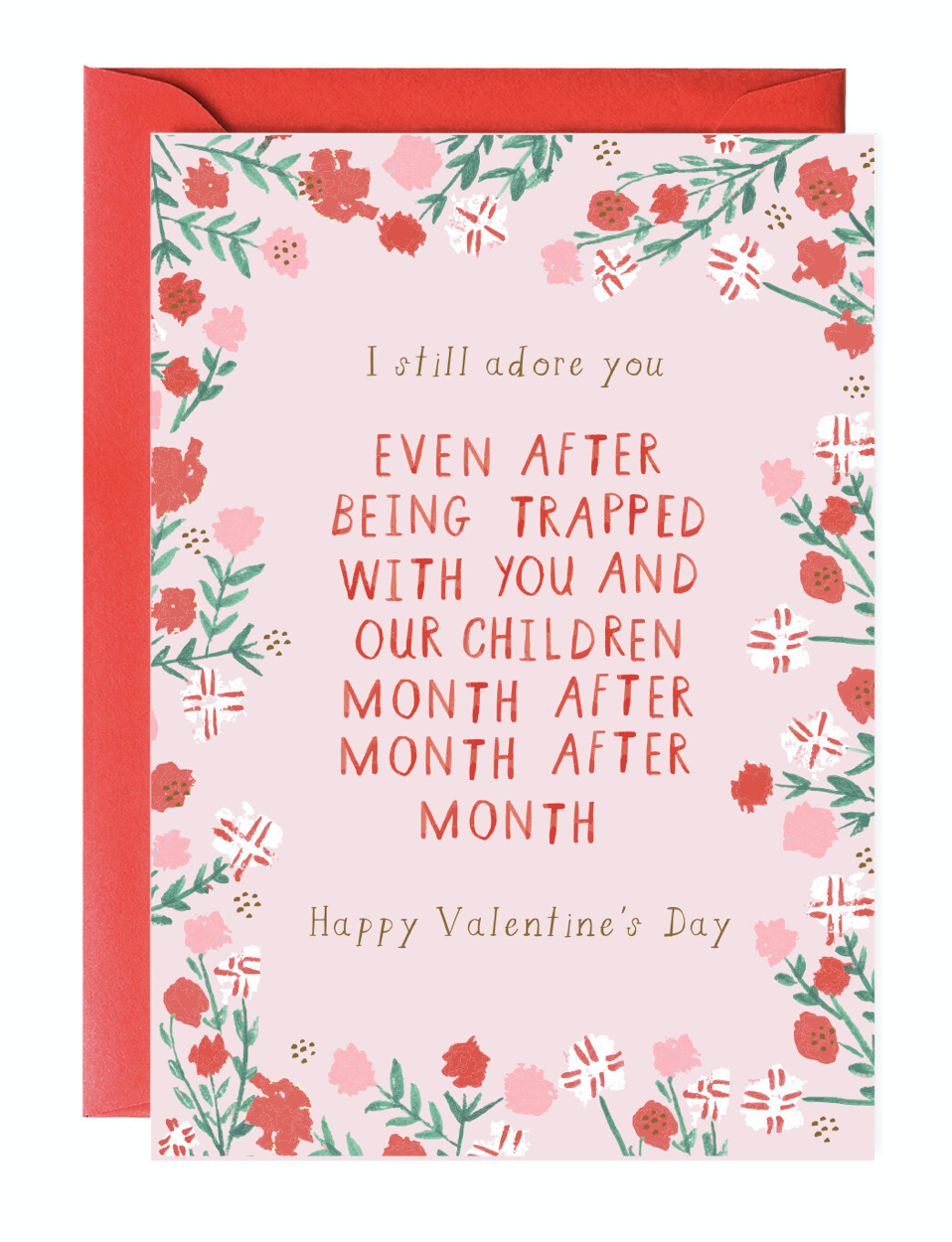 Stuck with You Valentine, Blank Greeting Card
