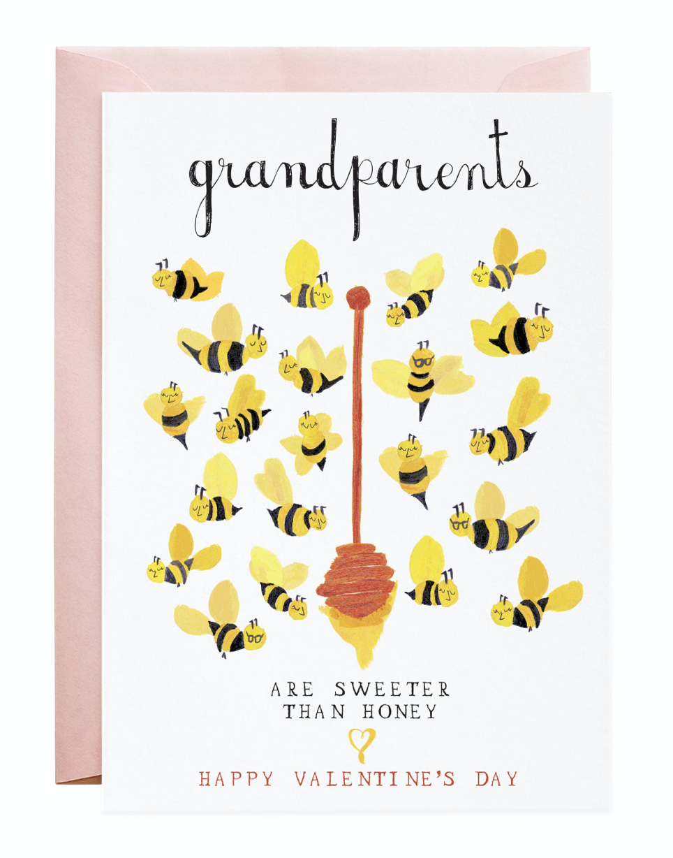 """Grandparents are Sweeter than Honey,"" Valentine Blank Greeting Card"