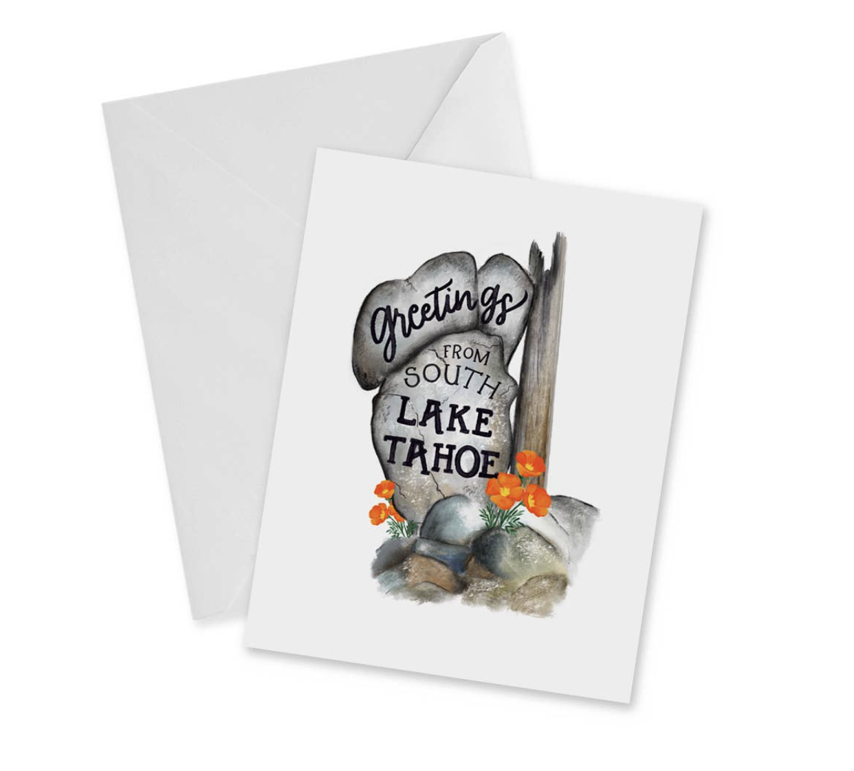 """Greetings from South Lake Tahoe,"" Blank Greeting Card"