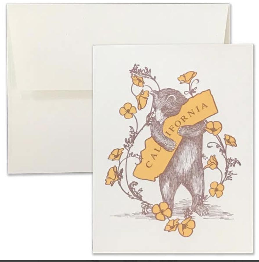 Poppy & California Bear Hug Letter Press Blank Greeting Card