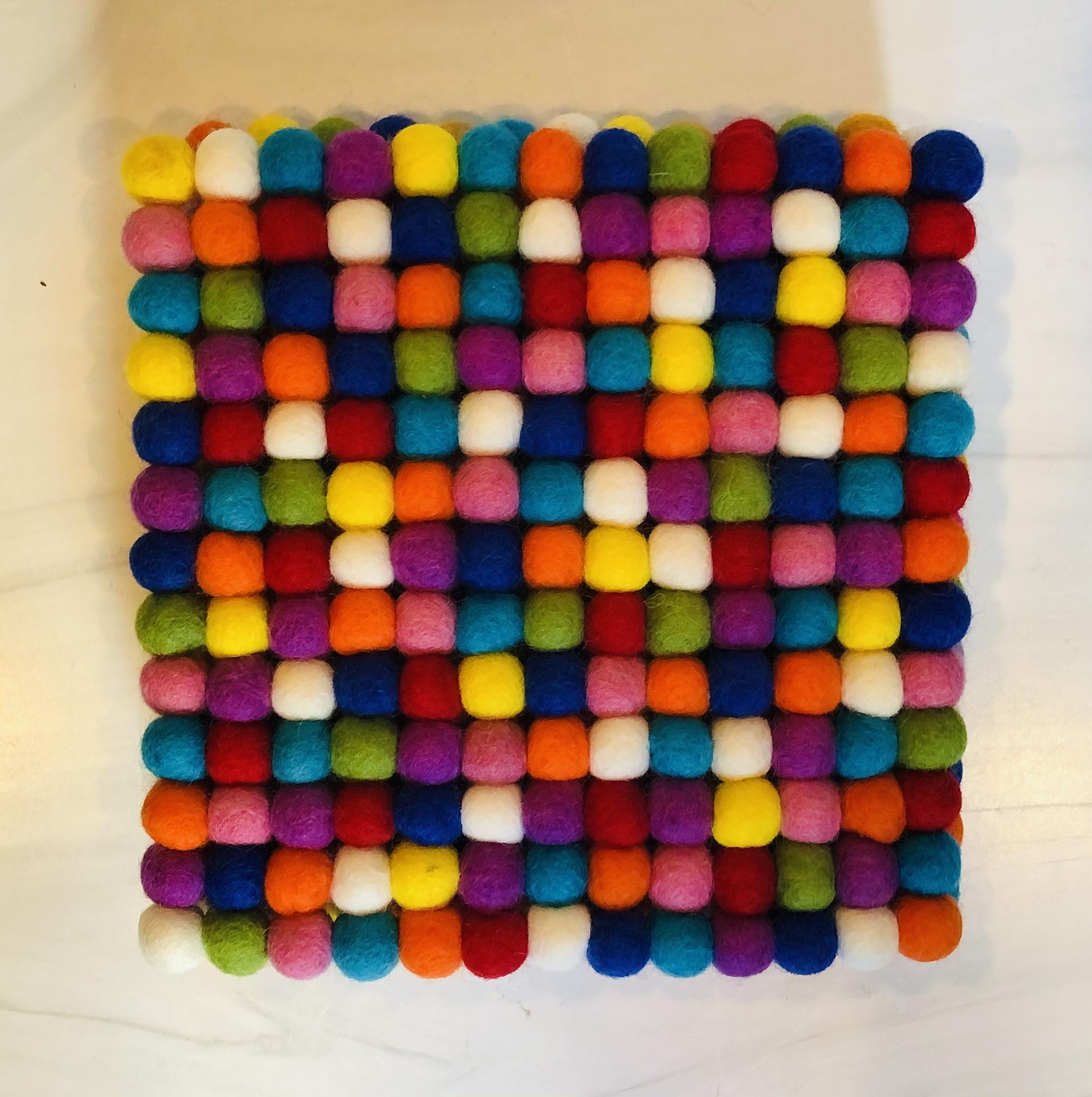Felt Pom Pom Square Trivet, Multicolored